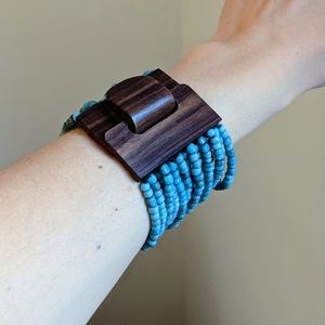 Turquoise beads Hand-Carved Wooden Cuff